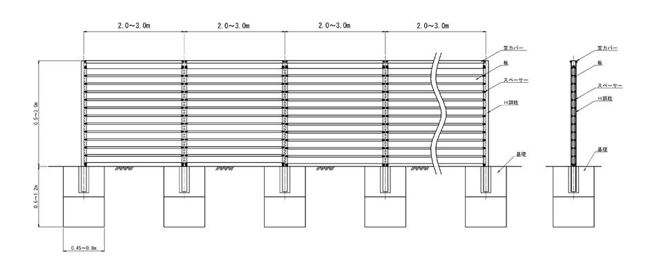 防風板柵(施工例)